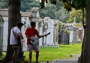 Mike and Vinnie played some tunes for the dearly departed at a New Orleans Cemetery. Above ground cemeteries were quite novel for us having grown up in Southern California.