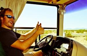 Arthur Hancock at the helm driving through the Arizona desert!