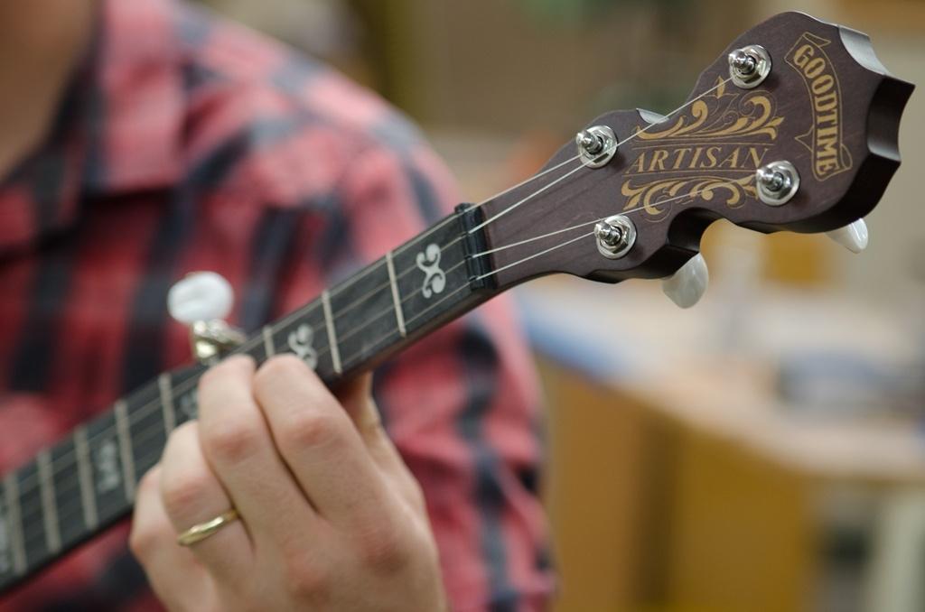 Deering Artisan Goodtime banjo neck and peghead