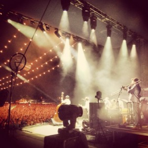 Mumford & Sons on stage at Simcoe, Canada