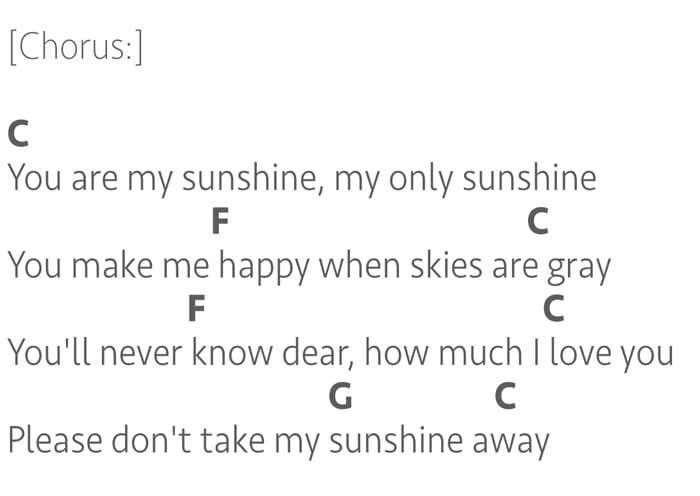 You Are My Sunshine lyrics and chords key of C
