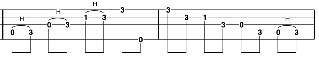G Minor Pentatonic scale on banjo - using all strings starting on the D going up and down