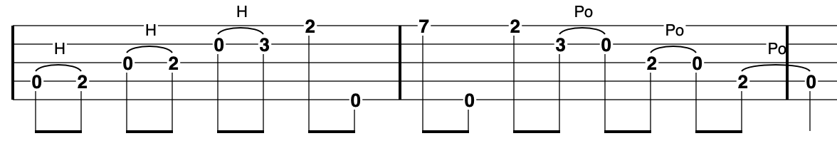 G Major Pentatonic - going up and down starting on the 4th string (a D note)